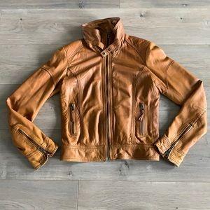 H&M Cognac Leather Jacket Size 6